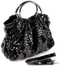 AUDREY Black Glitz Rectangle Sequin-Embellished PU Patent Leather HandBag Purse Evening Satchel Bag     The unique silverware circular double handles wrapped with matching patent leather give a chic, trendy touch.