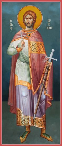 Holy Great Martyr Artemius of Antioch was a prominent military leader during the… Religious Images, Religious Icons, Religious Art, Byzantine Icons, Byzantine Art, Saints And Soldiers, Church Icon, Constantine The Great, Babylon The Great