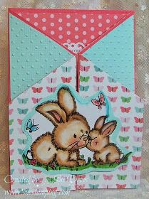 Sue's Rubber Stamping Adventures: BSS MONDAY IDEA - Fancy Fold Card. Stamps - Wild Rose Studio - (Cl051 Spring Bunnies) Sentiment Stamp - Penny Black (30-297) Sprinkles and Smiles Clear Set Papers - Bright Pink Textured Cardstock for base care. Designer Papers - Pebbles - Garden Party  Die cut oval - Spellbinders (S4-356) Floral Ovals Cute card design and fold to fit into 4 1/4 x 5 1/2 envelope.