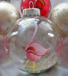 Pink Flamingo Tropical Hand Painted Glass Christmas Ball Ornament