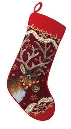 "Peking Handicraft 31SJM4511MC Christmas Deer Needlepoint Stocking, 11 x 18"""