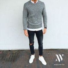 Very modern casual style for men with white sneakers, black jeans and . Very modern casual style for men with white sneakers, black jeans and gray pullover. Perfect outfit for the fall and winter. Urban Outfits, Mode Outfits, Casual Outfits, Fashion Outfits, Fashion Shirts, Hipster Outfits, Dress Casual, Mode Masculine, Casual Shirts For Men