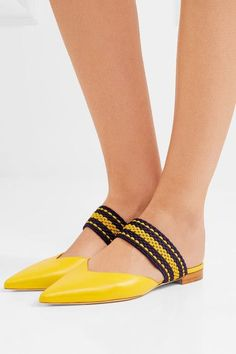 e68d154607d Malone Souliers - Roksanda Hannah Leather Point-toe Flats - Yellow