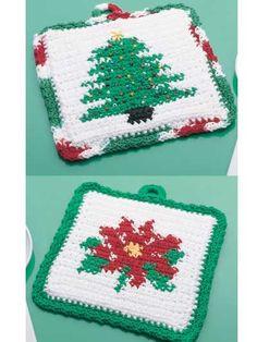 Holiday Christmas Crochet Potholder, hot pad, Free Pattern