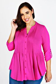 Plus Magenta Jersey Blouse With Pintuck Detail 16-32
