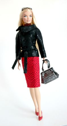 Black Faux Leather Jacket & Red Pencil Skirt by ChicBarbieDesigns, $23.99