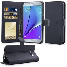 Note 5 Case, Tauri [Stand Feature] Wallet Leather Case with Stand, ID & Credit Card Pockets Flip Cover For Samsung Galaxy Note 5 - Black