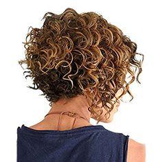 Highdas Il nuovo modo breve parrucca sintetica ricci Oro Mix capelli parrucche del partito per le donne ragazze
