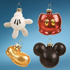 Have an iconic holiday with Mickey! This 4 piece Mickey icon glass ornament set features ''The Best of Mickey'' from head to toe for your Christmas tree.