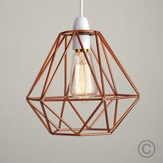 Industrial Style 'Diablo' Wire Frame Polygon Diamond Pendant Shade in Copper - Iconic Lights Copper Frame, Wire Frame, Copper Metal, Copper Lampshade, Lampshades, Cage Pendant Light, Ceiling Pendant, Cage Light, Basket Lighting