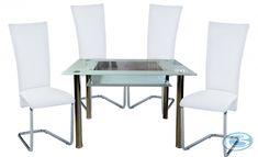 Jídelní sestava Monte Carlo 1+4 bílá – FALCO Moderní jídelní souprava skládající se ze 4 židlí a skleněného jídelního stolu. Tento cenově výhodný jídelníset je vhodný do jídelen, kuchyní i jídelních koutů. Moderní skleněný stůl … Dining Chairs, Dining Table, Dining Sets, Monte Carlo, Furniture, Home Decor, Dinner Sets, Decoration Home, Dining Room Furniture