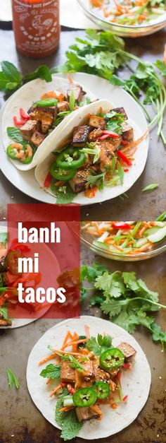 These vegan banh mi tacos are stuffed with smoky baked tofu, crispy pickled veggies, fresh herbs, and dressed in spicy sriracha mayo!