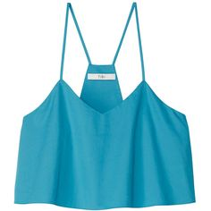 Tibi Cypella Teal Satin Poplin Cropped Tank Top (805 RON) ❤ liked on Polyvore featuring tops, cypella teal, blue tank top, v-neck tank tops, ruched tank top, satin tank top and crop top