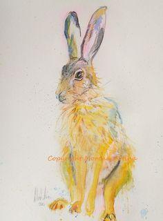 MORENA ARTINA Original contemporary PAINTING Large 14 x 11 inches Honey Hare