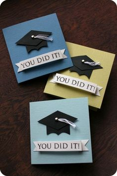 GRADUATION~paper crafts: mini grad cards - crafts ideas - crafts for kids Graduation Banner, College Graduation Gifts, Graduation Ideas, Graduation Decorations, College Graduation Cards Handmade, Graduation Quotes, Graduation Parties, Unique Graduation Gifts, Preschool Graduation