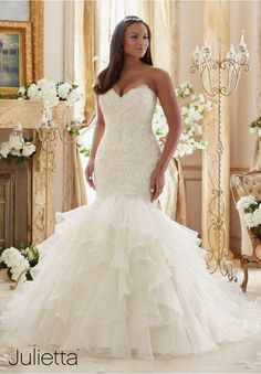 Plus Size Wedding Dress 3201 Crystal Beaded Embroidered Lace Meets Flounced Organza