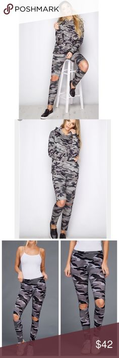 """LAST🔴1 HOUR SALE🔴 Camouflage Leggings Camo open knee leggings. Available in Small ONLY. Medium & large sold out. limited edition. Material: 92% Cotton 8% Spandex. Measurements laying flat are: 13"""" Waist 33"""" Height. SoChic Pants Leggings"""