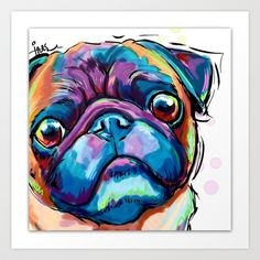Pug Face Art Print by Cartoon Your Memories - $22.88