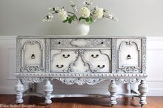 SOLD!!!!! - RARE Antique Ornate Carved Jacobean Hand Painted French Country Shabby Chic Weathered White Grey Buffet Sideboard Cabinet