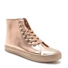 Qupid Rose Gold Narnia Sneaker ($20) ❤ liked on Polyvore featuring shoes, sneakers, lace up sneakers, qupid, lace up shoes, metallic lace up shoes and lacing sneakers