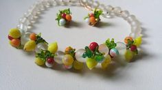 Vintage glass fruit necklace and earring set / lemons , peach , berries , oranges / pin up style / 1950 / tropical / summer fresh