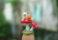 "Micro crochet snail and mushrooms – art dollhouse miniature amigurumi decoration Ack! As if the subject matter wasn't cute enough… it's ""micro crochet""! Crochet Snail, Crochet Animals, Crochet Crafts, Crochet Dolls, Yarn Crafts, Crochet Projects, Knit Crochet, Crochet Mushroom, Mushroom Art"