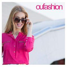 Detalhes de zíper na camisa fashion, fluida e color. Amandoooo o shape contemporâneo!   #oufashion #inverno2015 #camisa #pink