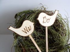 Rustic cake toppers love birds custom personalized by Petite25, $17.00