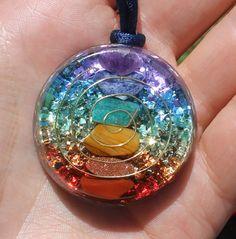 7 Chakras Orgone Crystal Healing Pendant by mysticrocksorgone