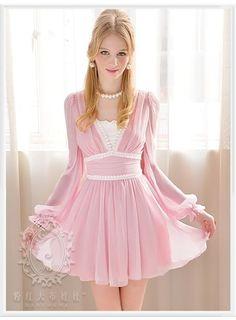 Inexpensive V-neckline Lace elegent Long Sleeve Chiffon Dress $31.02 (Free Shipping) :chicwill.com