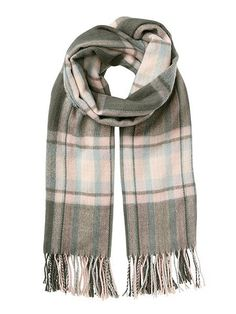 cd178e608 Grey And Pink Checked Scarf (195 MAD) ❤ liked on Polyvore featuring  accessories,