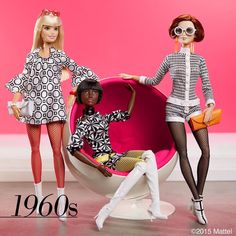 Major mod moment! Short skirts, graphic print and fabulous footwear finish the looks! So 1960s.  #barbie #barbiestyle
