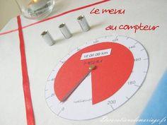 Idées de décoration de mariage : faire part, marque place, menu... - Thème moto : menu compteur