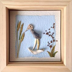 This pebble picture was created after a beach combing trip. We had collected pomatoceros tubes and lovely long curving shells. The week before we had seen wading birds on the beach. From these two trips came the idea behind this picture. Dimensions 19.5cm square and 3.2cm deep.