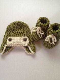 Newborn baby aviator hat and bootie set   by nessjude16 on Etsy, $20.00