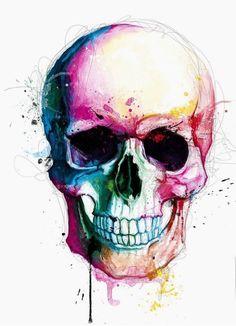 dessin de tatouage tête de mort haut en couleurs