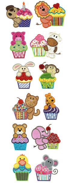 Animalitos con cupcake para aplicaciones