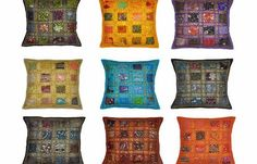 Rajasthali Indian Vintage Home Decor Cotton Cushion Cover With Embroidery