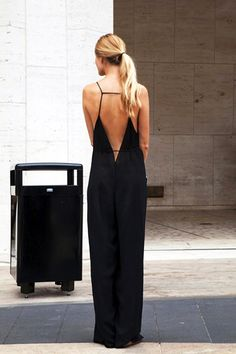 long ponytail & sexy open back jumpsuit #style #fashion #streetstyle #summer