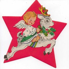 Christmas vintage seal of a cute angel riding a reindeer