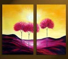 2 Piece Canvas Art Tree of Life Modern Art 100% Hand Painted Oil Painting on Canvas Wall Art Deco Home Decoration (Unstretch No Frame) by galleryworldwide, http://www.amazon.com/dp/B009Z8PFGW/ref=cm_sw_r_pi_dp_0waUrb1Q8NKJV