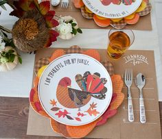 A rustic kids Thanksgiving table with plenty of DIY details