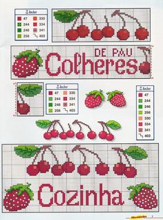 Cross Stitch - More than Graphics Cross Stitch Fruit, Cross Stitch Kitchen, Mini Cross Stitch, Cross Stitch Charts, Cross Stitch Designs, Cross Stitch Patterns, Loom Patterns, Beading Patterns, Embroidery Art