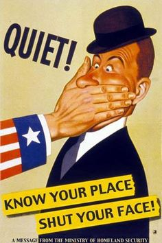 Poster urging people to avoid loose talk that might aid the enemy. Notice this poster came from the Ministry of Homeland Security. This must be a British poster but the sleeve must represent the U.S. (?)