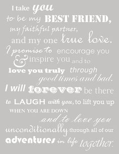 Beautiful wedding vows instead of the traditional by the book vows ...