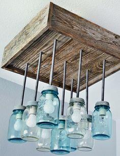 reclaimed wood mason jar chandelier betty 8 light mason jar