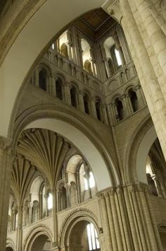 The spectacular arches, galleries and fan vaulting of Norwich Cathedral, Norwich UK. Romanesque Architecture, Cathedral Architecture, Gothic Architecture, Beautiful Architecture, Architecture Details, Gothic Castle, Medieval Gothic, Norwich Cathedral, Stone Masonry
