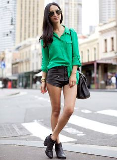 green-blouse-with-leather-shorts-and-boots
