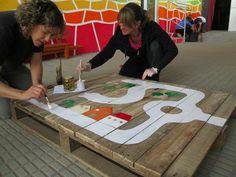 Cool idea for reusing a pallet for children.
