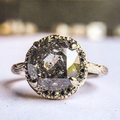 Custom Inigo ring with 3ct salt & pepper diamond and black diamond pave in 14k white gold.
